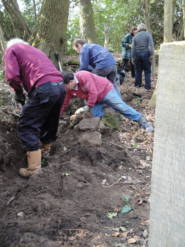 Digging a trench and laying foundations